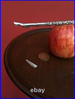 ANTIQUE RARE BRAMAH QUILL NIB LARGE SOLID Hand Engraved SILVER DIP PEN C1835