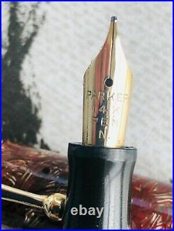 C1941 Parker Victory button fill fountain pen, M 14k nib, rare lined pattern