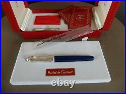 Cartier Pasha Fountain Pen Lazuli Lapis With18K Gold Nib Very Rare Complete Set