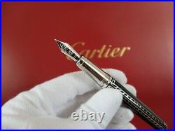 Cartier Railroad Decor Limited Edition Fountain Pen 100% NEW Rare Full Set