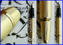 Montblanc 146 Solitaire Gold Barley Fountain Pen 1991. 18k M Semi Flex Nib. RARE