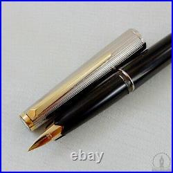 NOS Rare 1970s Montblanc Classic 222 Black & Rhodium Plated Fountain Pen F Nib