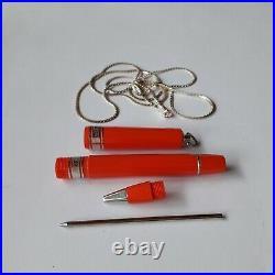 Omas Rare Arte Italian Diva Red Ballpoint Pen 60% Off Retail 925 Silver Necklace
