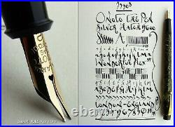 Onoto 5600 Silver Hatch Celluloid Fountain Pen 1930s. 14C M Full Flex Nib. Rare