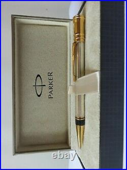 Parker Duofold Sterling Silver Ballpoint Pen New In Box Very Rare Pen