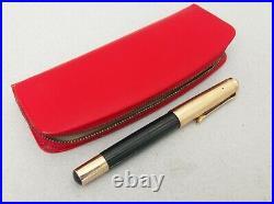 Pelikan 500 Black Striped Gold Double Fountain Pen 14k EF Flex Nib Rare Vintage