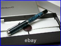 Pelikan M805 Ocean Swirl 18c Rhodium Fine Nib Special Edition Rare Fountain Pen