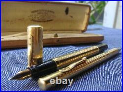 RAREWaterman France Gothic Royal Plated 18K nib 42 1/2 Safety Pen +MP SET