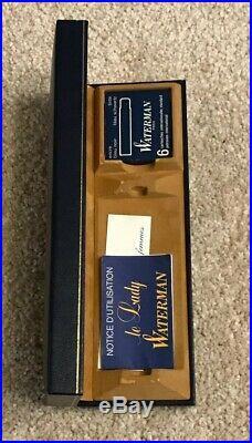 RARE WATERMAN LADY PATRICIA BLACK/GOLD FACETED FOUNTAIN PEN-18k NIB-BOXED