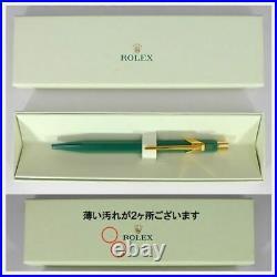 ROLEX Watch Novelty Ballpoint Pen CARAN d'ACHE Green Gold Blue ink rare F/S