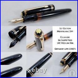 Rare 1st Version Montblanc 244 Celluloid Fountain Pen 14C Medium Nib Late 1940s
