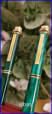 Rare CARTIER VENDOME ELECTRIC GREEN MALACHITE pen (Diabolo Pasha Roadster)