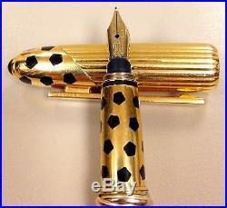 Rare Collectable Panthere de Cartier Fountain Gold-plated Pen F Nib