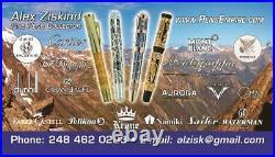 Rare David Oscarson Lilies Limited Edition Fountain Pen 1/8 Medium 18k Gold Nib