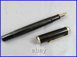 Rare PELIKAN 400 Black Striated Fountain Pen 14ct Fine Nib