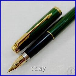 Rare Parker 75 Malachite Green Lacquer GT Fountain Pen 14K M Nib