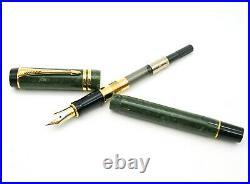 Rare Parker Duofold Centennial MK II Fountain Pen Marbled Jade 18k Medium Nib