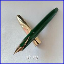 Rare Sheaffer PFM Fountain Pen Green / Gold Cap Nib 14 K USED Conditions #1