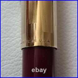Rare Sheaffer PFM Fountain Pen Maroon /Gold Cap Nib 14 K USED & Work Conditions