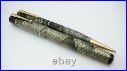 Rare! Swan Sm 205/86 Set, Gray & Black Snakeskin, Semi Flex, 14k Medium Nib