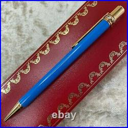 Rare Vintage Authentic Cartier Ballpoint Pen Trinity Light Blue Lacquer (NEW)