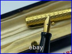 Rare Vintage Italian STYLUS 18KR Overlay Fountain Pen 18K Nib Near Mint Boxed
