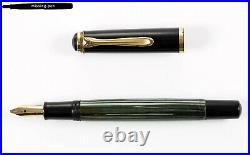 Rare & Vintage Pelikan 400 Piston Fountain Pen in Green-Black with 14 K OB-nib