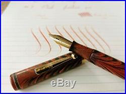 Rare Vintage Waterman #7'PINK' Fountain Pen 14ct Gold Wet-Noodle Nib