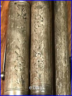 Rare WATERMAN's #454 Sterling Silver FTN Pen & Pencil Set 14K Gold NIB IDEAL