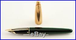 Rare Waterman Cartridges Fountain Pen EDSON in Emerald Green / Gold 18 K M-nib