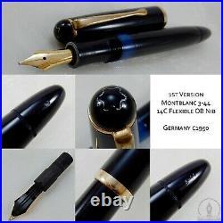 Rare c1950 1st Version Montblanc 344 Fountain Pen 14K Flexible OB Nib