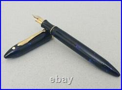 Sheaffer Balance II Dark Blue Marble Fountain Pen 18k M Nib RARE Vintage