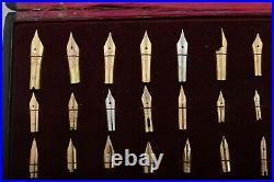 Unique Very Rare Vintage Gold Nib Collection Lot Box for Fountain Pen