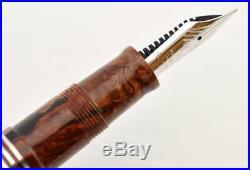 Very Rare Omas 90 Anniversary Burlwood Celluloid Fountain Pen 14k Rare Ef Nib