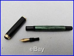 Vintage Rare PELIKAN 400 Green striped/Black Fountain Pen Gold Nib EF 14C 585
